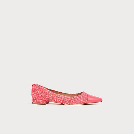 Perth Pink Tweed Toe Cap Flats