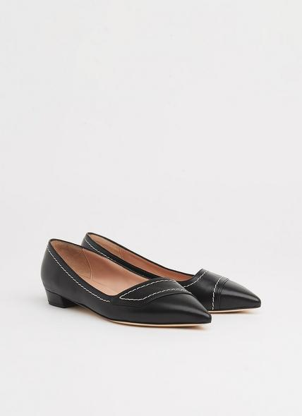 Polly Black Leather Contrast Stitch Flats