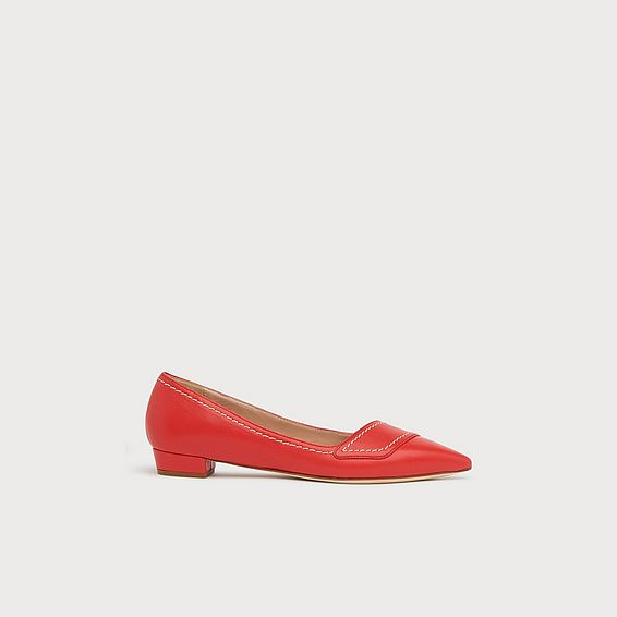 Polly Red Leather Contrast Stitch Flats