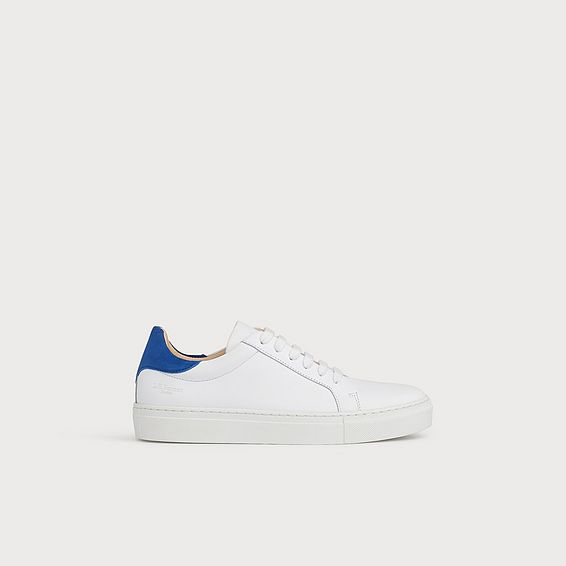 Tokyo Blue Heel White Leather Trainers