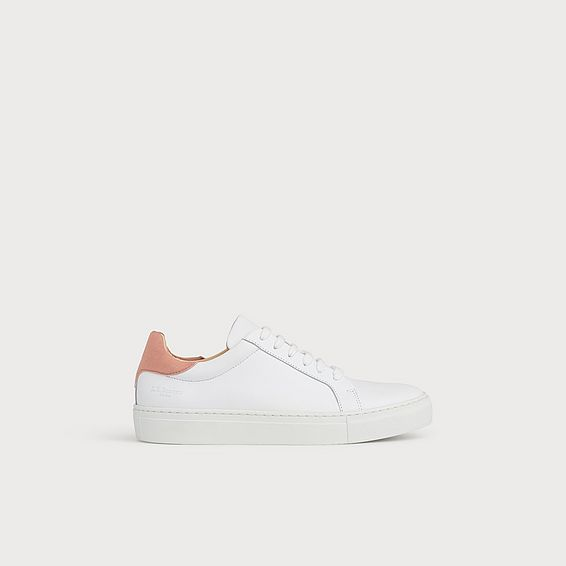 Tokyo Pink Heel White Leather Trainers