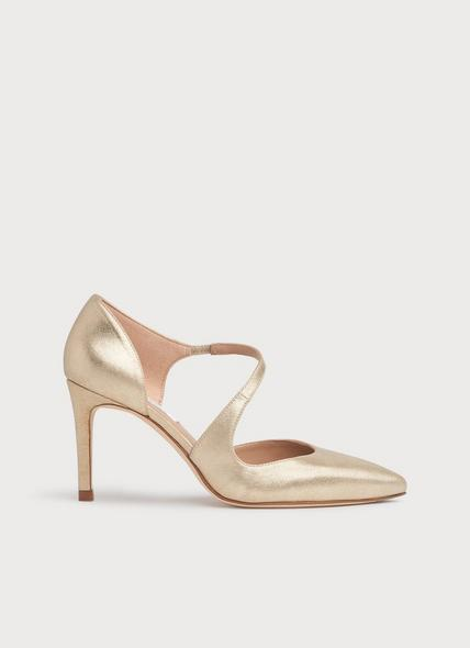 Victoria Gold Suede D'Orsay Courts