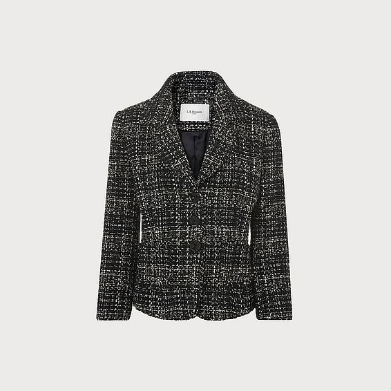 Italy Black Navy Tweed Jacket