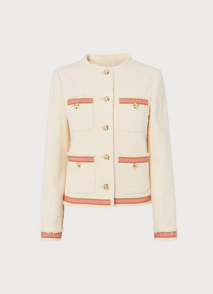 Soraya Cream Tweed & Pink Ribbon Jacket