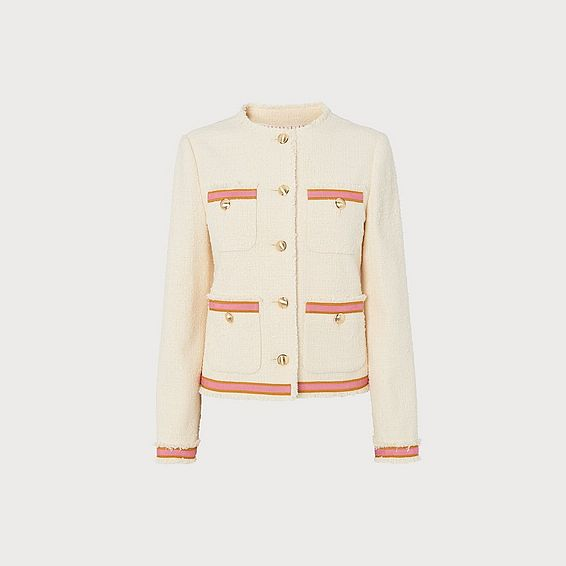 Soraya Cream Tweed & Pink Ribbon Jacket