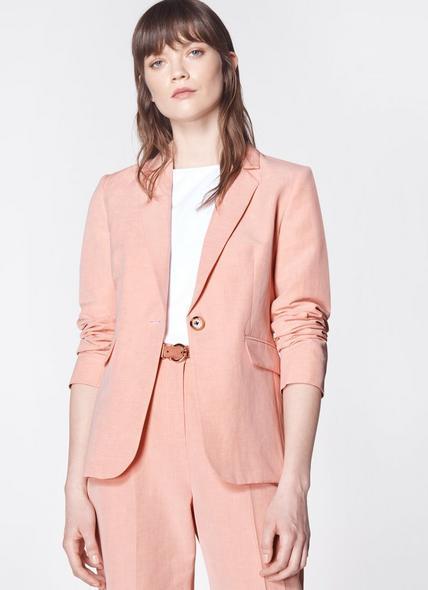 Sweetpea Pink Linen-Blend Jacket