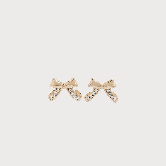 Atlanta Swarovski Crystal Gold-Plated Bow Earrings