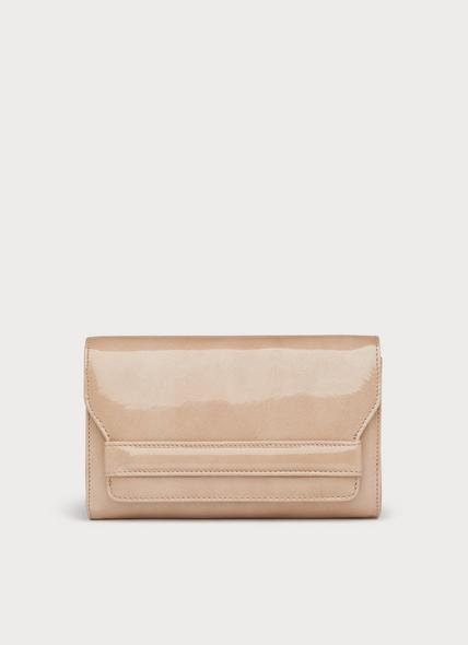 Mini Ella Beige Patent Clutch Bag