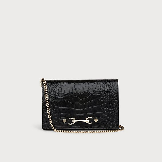 Melissa Black Croc-Effect Leather Handbag