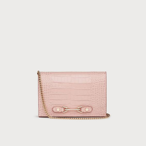 Melissa Pink Croc-Effect Leather Handbag