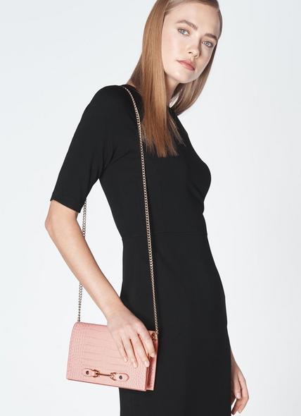 Melissa Pink Croc-Effect Leather Handbag