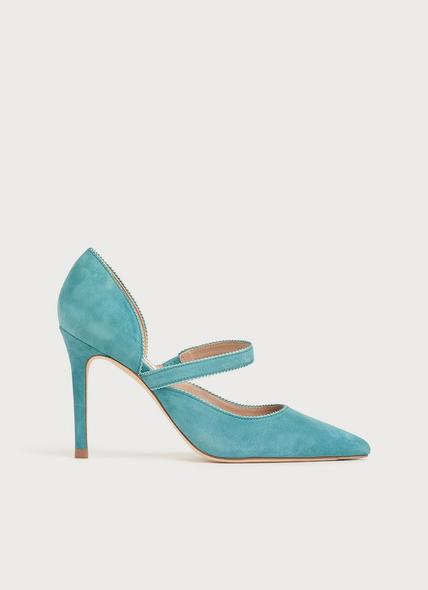 Florence Blue Suede Pointed Courts