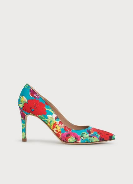 Floret Peony Print Silk Pointed Toe Courts