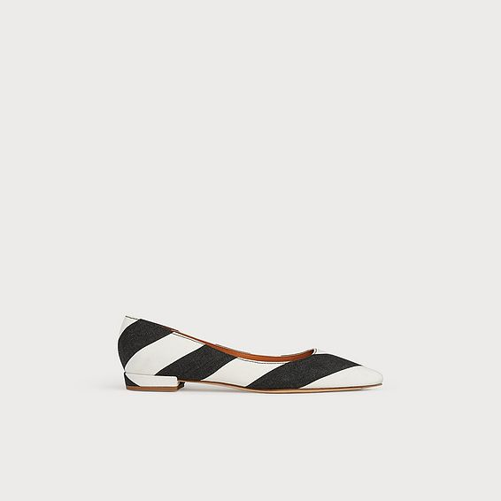 Harlow Monochrome Stripe Fabric Flats