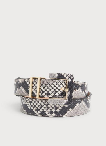 Gena Natural Snake Print Leather Belt