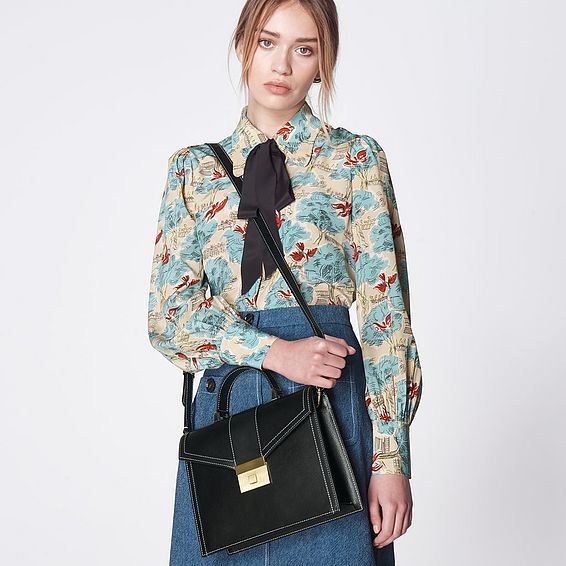 Monica Black Leather Handheld Bag