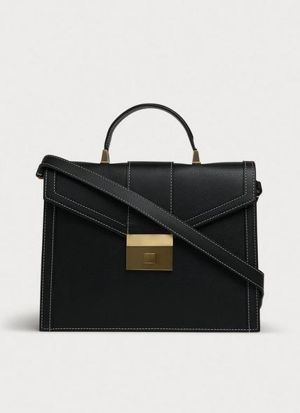 Monica Black Leather Handheld Bag