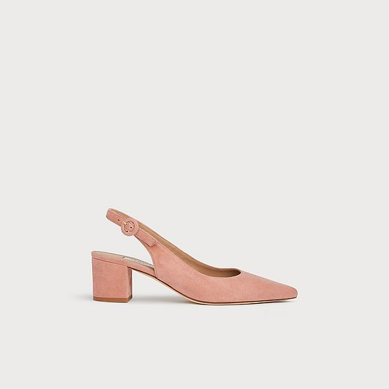Ada Pink Suede Slingback Courts