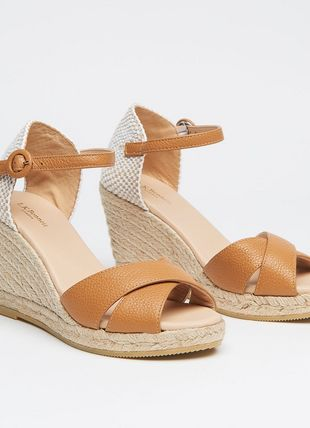 Angele Tan  Leather Wedge Espadrilles