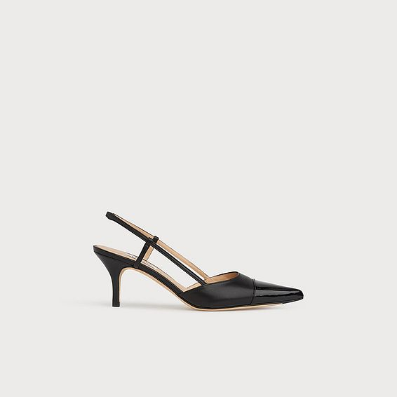 Hally Black Leather Toe Cap Slingbacks
