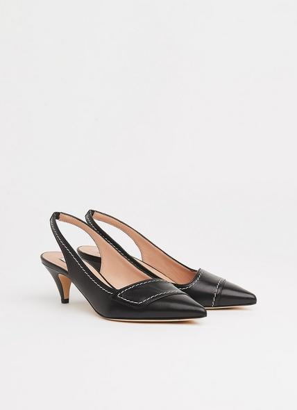 Heidi Black Leather Contrast Stitch Slingbacks