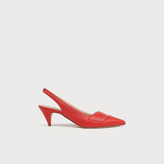 Heidi Red Leather Contrast Stitch Slingbacks