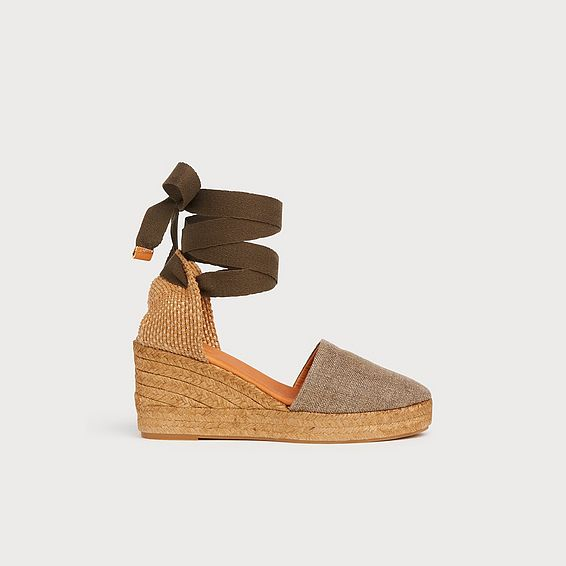 Sarah Bronze Canvas Wedge Espadrilles