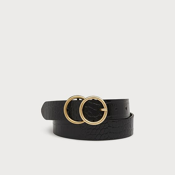 Georgia Black Croc Effect Belt