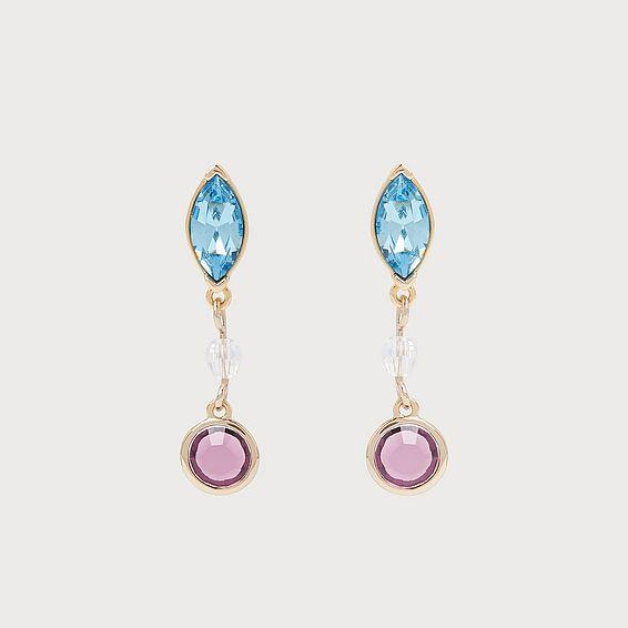 Rio Amethyst & Aquamarine Swarovski Crystal Drop Earrings