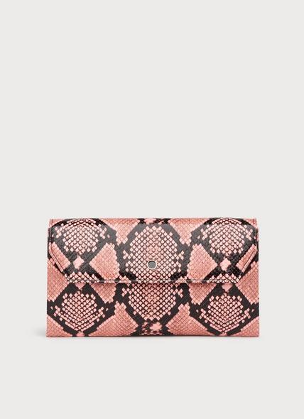 Dora Pink Snake Print Envelope Clutch