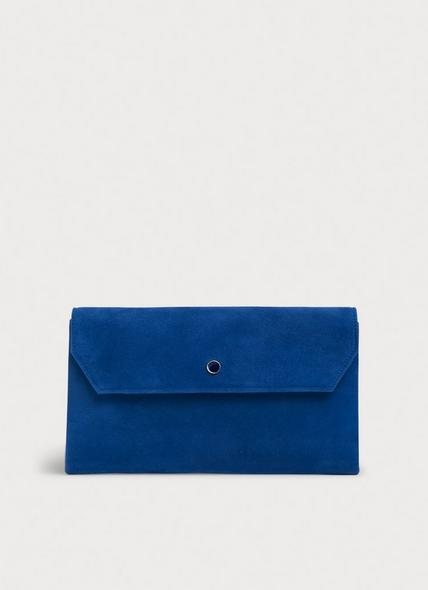 Dora Cobalt Suede Envelope Clutch