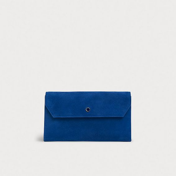 Dora Light Blue Suede Envelope Clutch