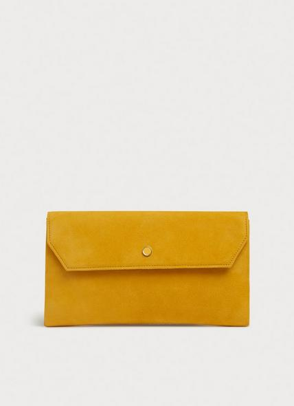 Dora Yellow Suede Envelope Clutch