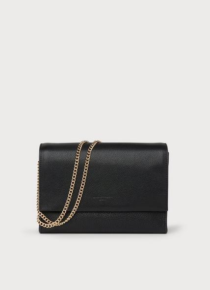 Marcella Black Leather Shoulder Bag