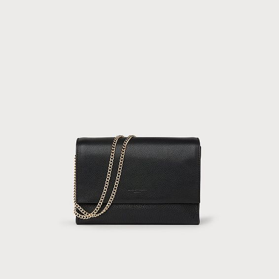 Marcella Black Leather Shoulder Bag