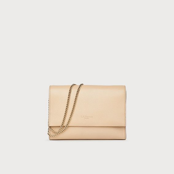 Marcella Taupe Leather Shoulder Bag