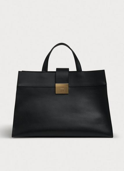 Lorelei Black Leather Large Tote