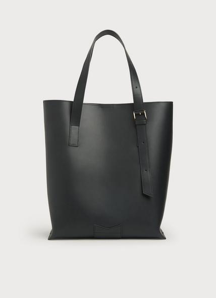 Larissa Black Leather Tote Bag