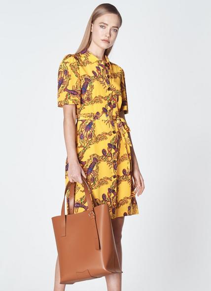 Larissa Dark Tan Leather Tote Bag