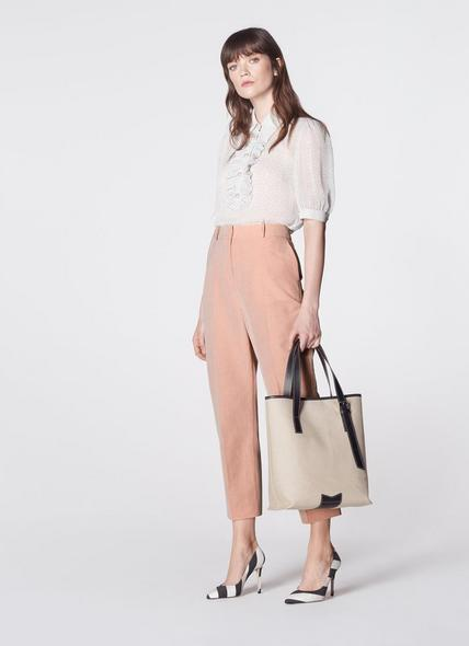 Larissa Cream Canvas & Black Leather Tote Bag