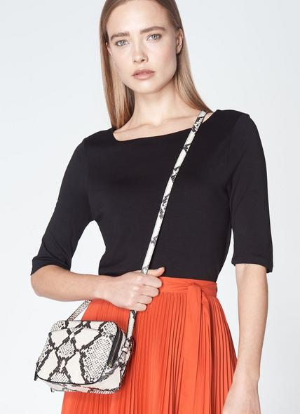 Mariel White Snake Print Shoulder Bag