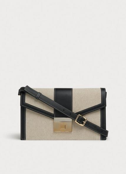 Myra Cream Canvas & Black Leather Crossbody Bag