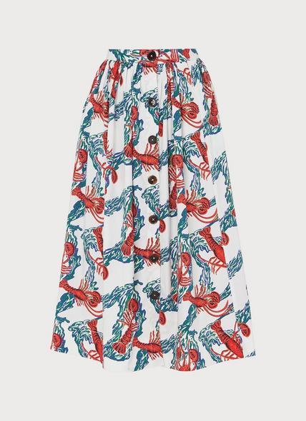 Agatha Lobster Print Cotton Skirt
