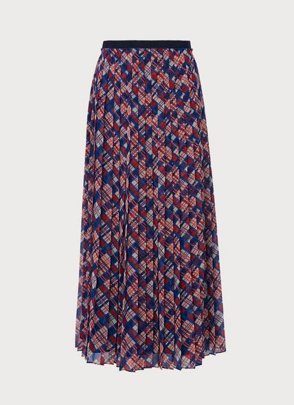 Avery Painted Check Print Pleated Midi Skirt