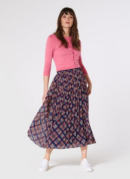 Avery Painted Check Print Pleated Midi Skirt