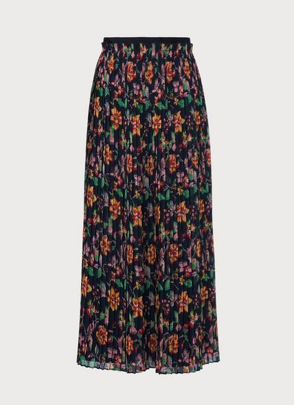 Avery 1940's Floral Print Pleated Midi Skirt