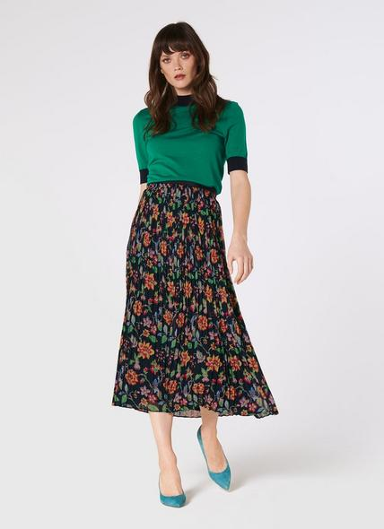 Avery 1940's Floral Print Pleated Midi Skirt