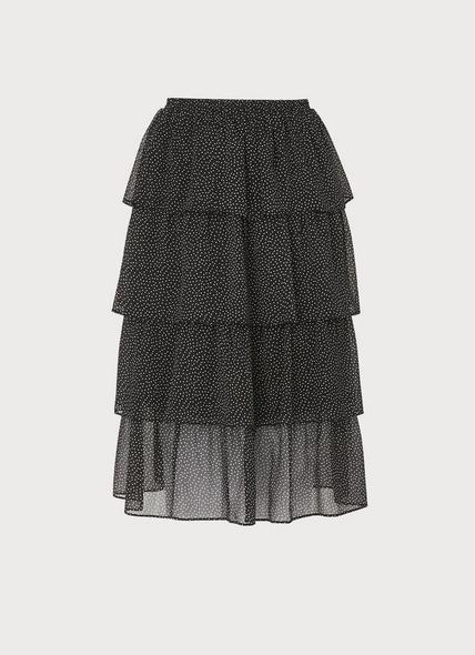 Betty Black Crinkle Spot Tiered Skirt