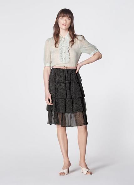 Betty Black Crinkle Spot Tiered Skirt