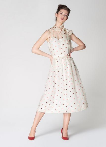 Glinda Cream & Red Spot Embroidered Silk Organza Skirt